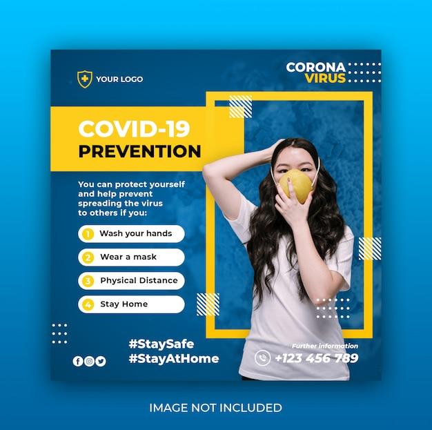 Coronavirus avviso social media instagram banner post modello o volantino quadrato Psd Premium