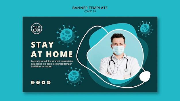 Coronavirus-bannermalplaatje met foto Gratis Psd