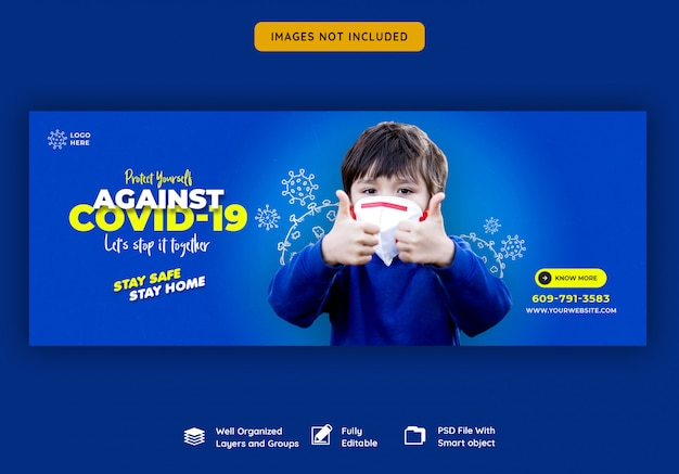 Coronavirus of convid-19 facebook voorbladsjabloon Premium Psd
