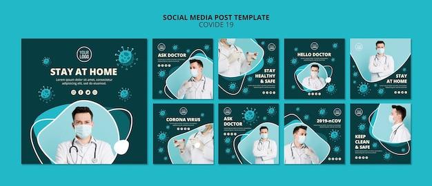 Coronavirus social media plaatst sjabloon met foto Gratis Psd