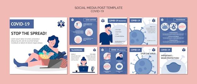 Coronavirus social media postsjabloon Gratis Psd