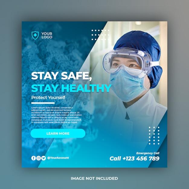 Coronaviruspreventiebanner of vierkante flyer voor postsjabloon voor sociale media Premium Psd