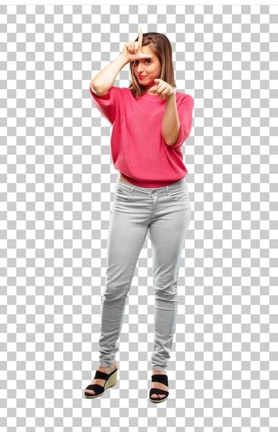 Corpo pieno di giovane donna gesticolando segno più sciolto Psd Premium