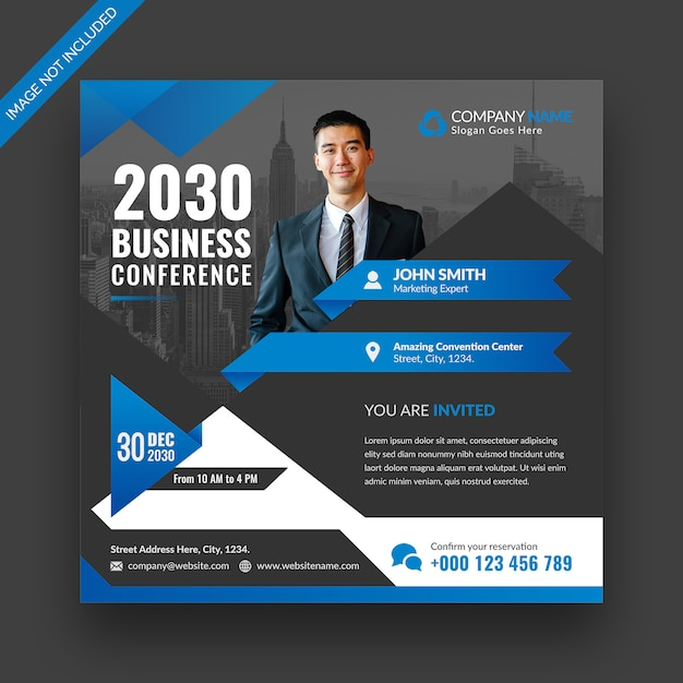 Corporate business conference social media post banner en vierkante flyer sjabloonontwerp Premium Psd