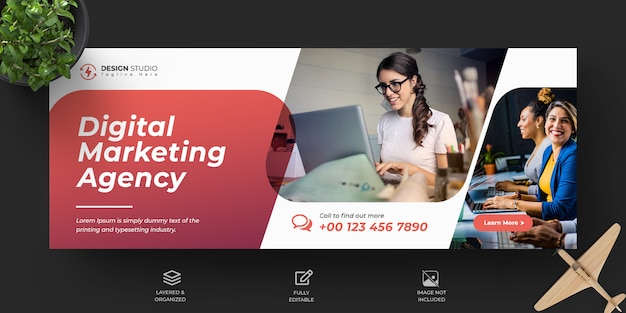 Corporate en digitale zakelijke marketing promotie facebook voorbladsjabloon Premium Psd