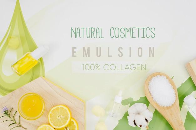 Cosmética natural y rodajas de limón. PSD gratuito