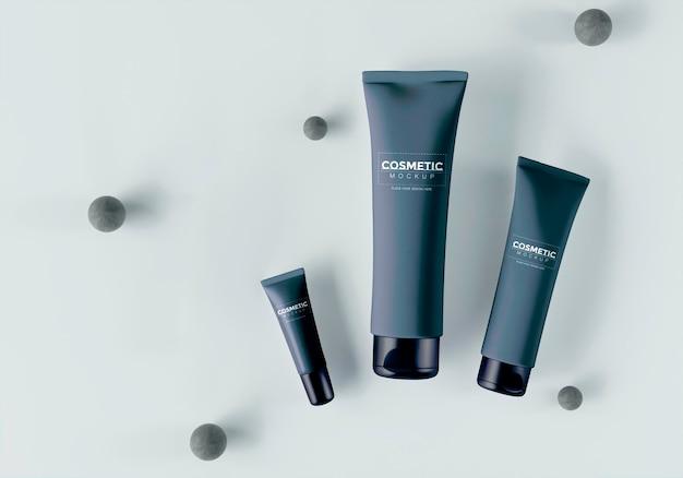 Cosmetische producten met bollen en bladeren Gratis Psd