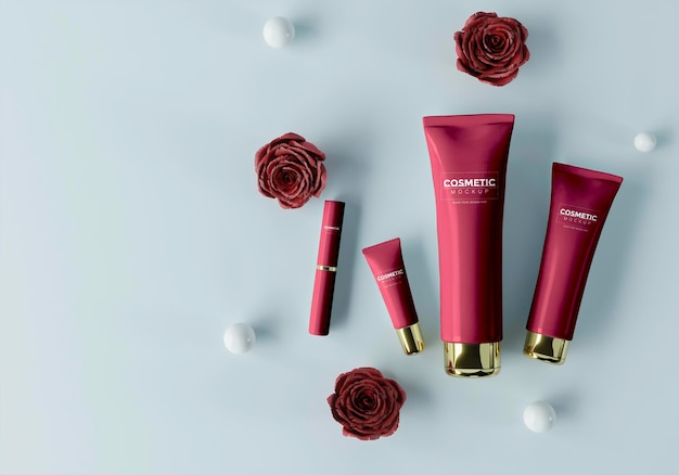 Cosmetische producten met bollen en bloemen Gratis Psd