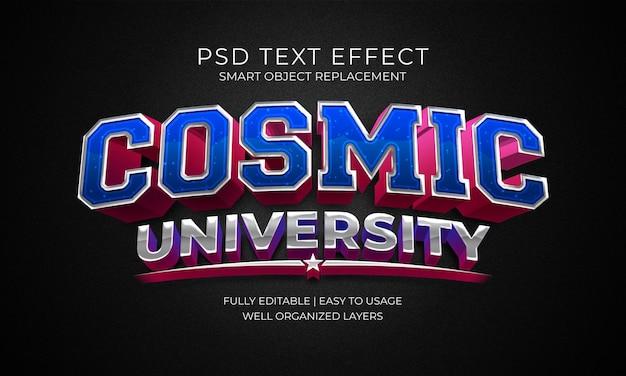 Cosmic university-teksteffectsjabloon Premium Psd
