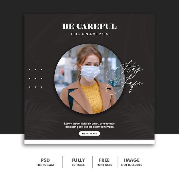 Covid 19 social media-bannermalplaatje instagram, wees voorzichtig meisje geel met masker Premium Psd
