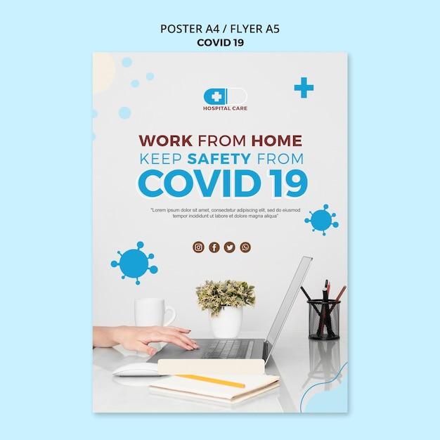 Covid19 flyer concept sjabloon Gratis Psd