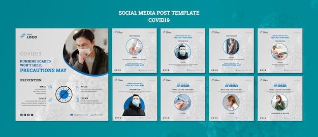Covid19 social media postsjabloon Gratis Psd