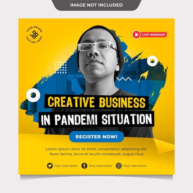 Creatief bedrijf in pandemi-situatie social media post-sjabloon Premium Psd
