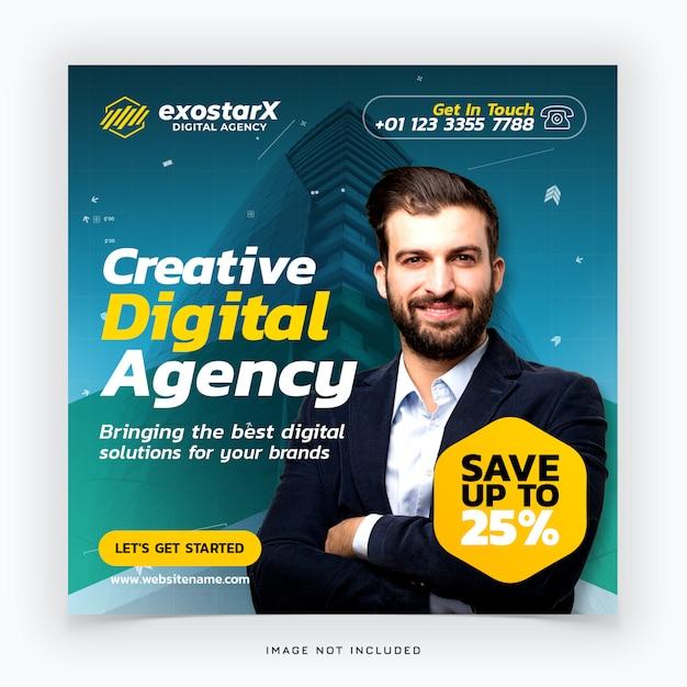 Creatief digitaal bureau social media post Premium Psd