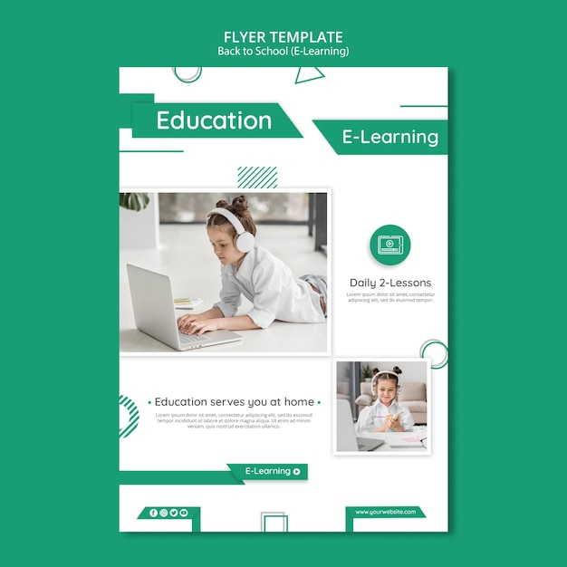 Creatief e-learning poster sjabloon met foto Gratis Psd