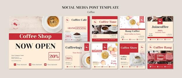 Creatieve coffeeshop sociale media berichten sjabloon Gratis Psd