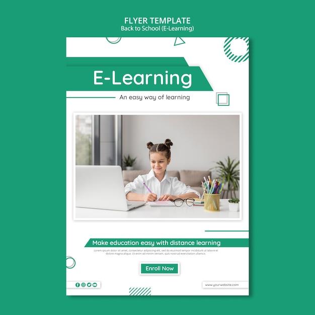 Creatieve e-learning flyer-sjabloon met foto Gratis Psd