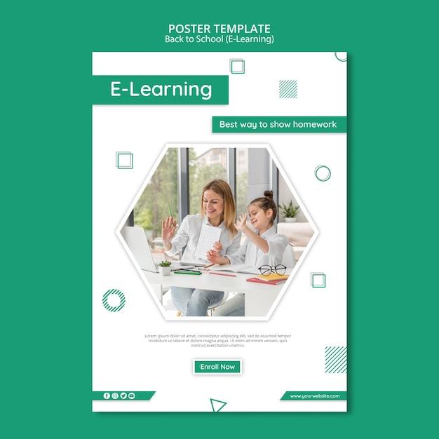 Creatieve e-learning flyer-sjabloon Gratis Psd
