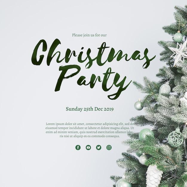 Creatieve kerst partij voorbladsjabloon Gratis Psd