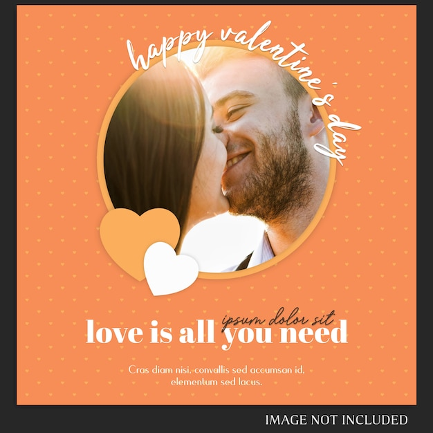 Creatieve moderne romantische valentine dag instagram post sjabloon en foto mockup Premium Psd
