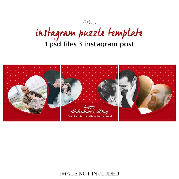 Creatieve moderne romantische valentine dag instagram puzzel post sjabloon en foto mockup Premium Psd