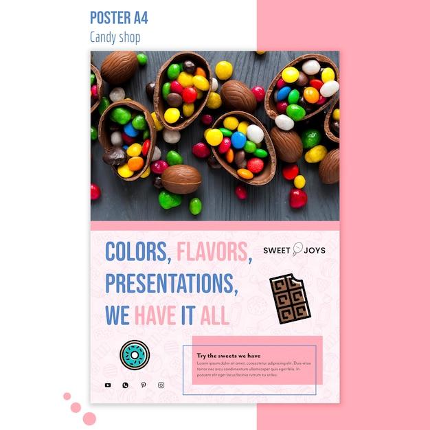 Creatieve snoepwinkel poster sjabloon met foto Gratis Psd