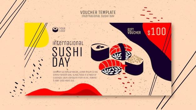 Creatieve sushi voucher sjabloon Gratis Psd