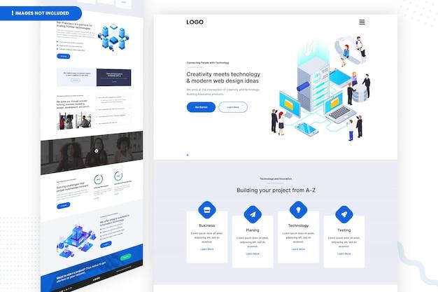 Creativiteit ontmoet technologie en moderne webdesignideeënsjabloon Premium Psd