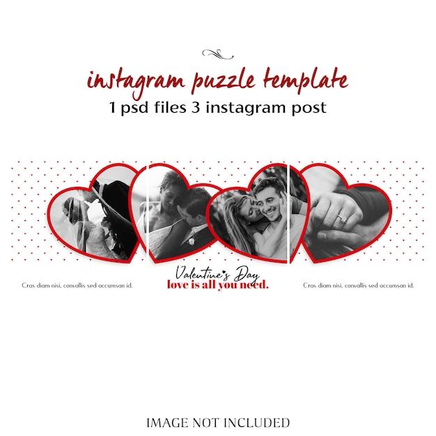 Creativo moderno romántico día de san valentín instagram puzzle post plantilla y foto maqueta PSD Premium
