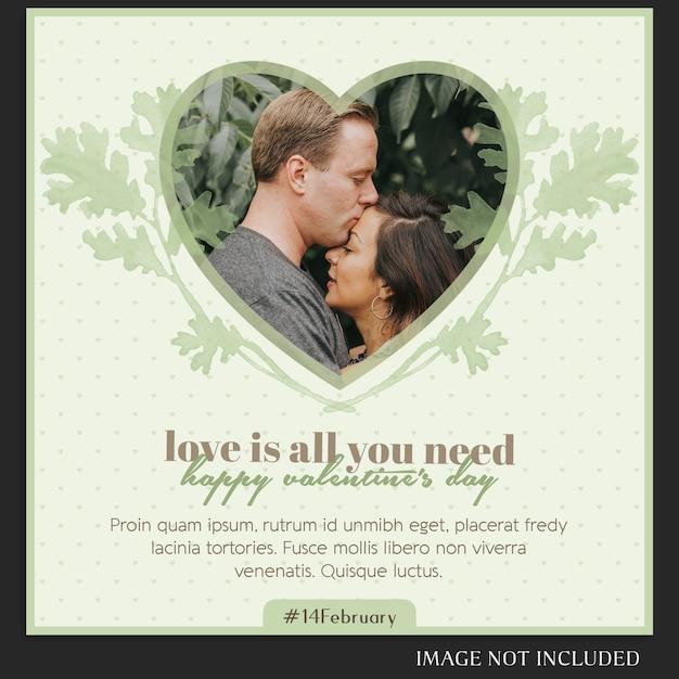 Creativo moderno romantico san valentino instagram post modello e photo mockup Psd Premium
