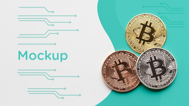 Criptovaluta colorata con mock-up Psd Gratuite