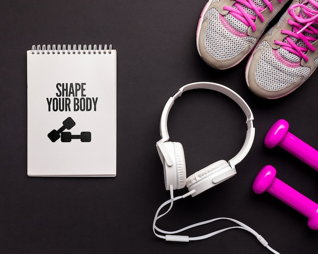 Cuaderno Con Mensaje Motivacional De Fitness Archivo Psd