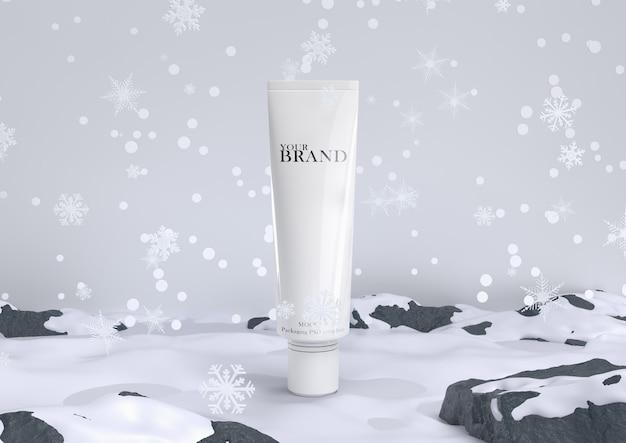 Cuidado de la piel hidratante cosmética de productos premium en nieve para navidad e invierno. PSD Premium