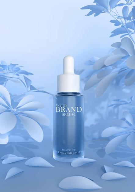 Cuidado de la piel hidratante cosmética productos premium en la superficie de las hojas PSD Premium