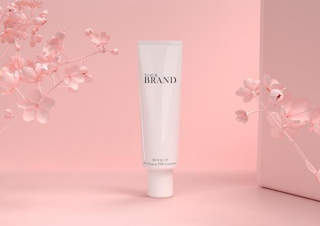 Cuidado de la piel hidratante, productos cosméticos de primera calidad en la pared de las hojas. PSD Premium