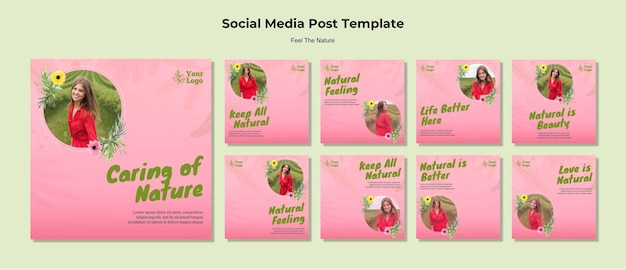Cuidando las publicaciones en redes sociales de la naturaleza PSD Premium