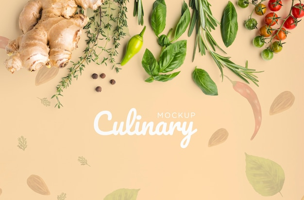 Culinair belettering mock-up met groenten en kruiden Gratis Psd
