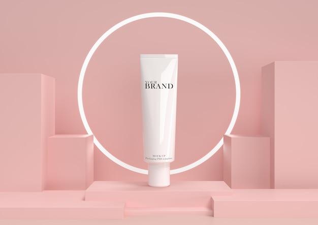 Cura della pelle idratante prodotti premium cosmetici con sfondo astratto. Psd Premium
