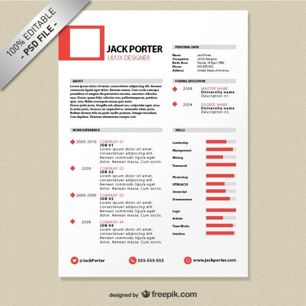 Curriculum creativo template free download Psd Gratuite