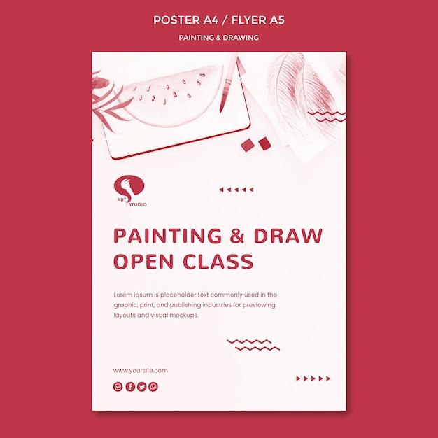 Cursussen tekenen en schilderen poster sjabloon Gratis Psd