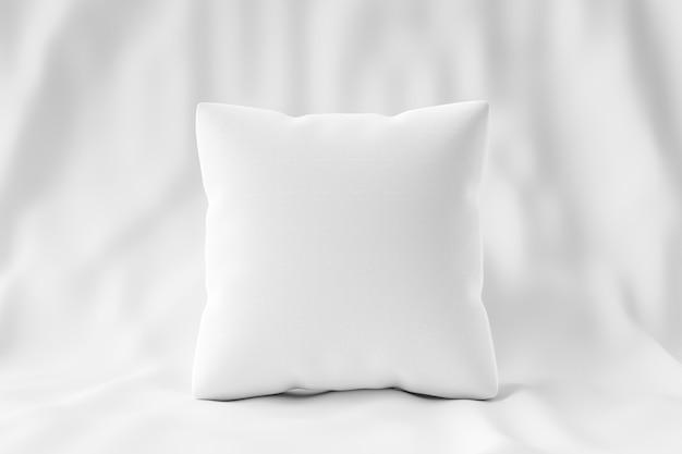 Cuscino bianco e forma quadrata sul fondo del tessuto con il modello in bianco. mockup di cuscini per il design. rendering 3d. Psd Premium