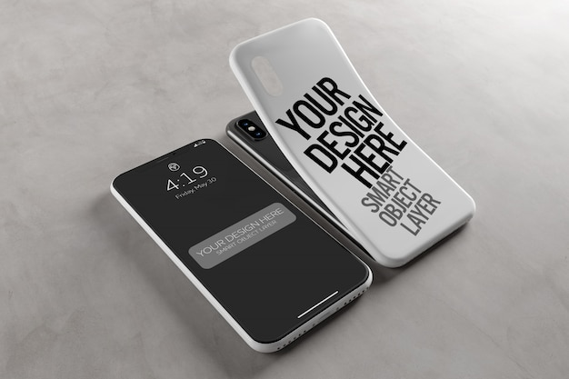 Custodia per smartphone e schermo mockup Psd Premium