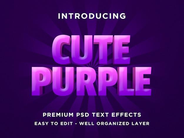 Cute purple - 3d-tekststijl font-effect psd-sjablonen Premium Psd