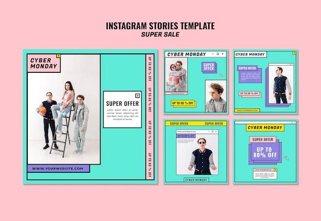 Cyber maandag concept instagram verhalen sjabloon Gratis Psd