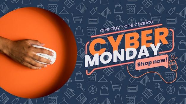 Cyber maandag concept mock-up met muis Gratis Psd