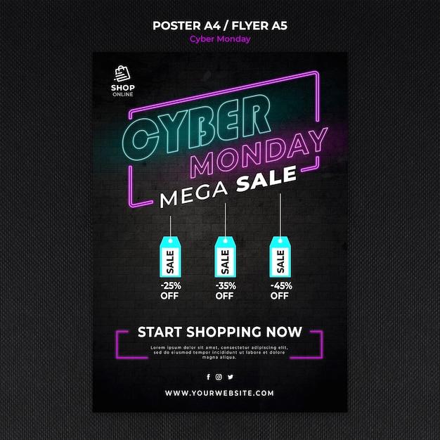 Cyber maandag concept poster sjabloon Gratis Psd