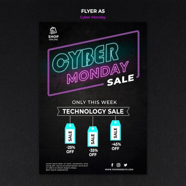 Cyber maandag concept sjabloon folder Gratis Psd