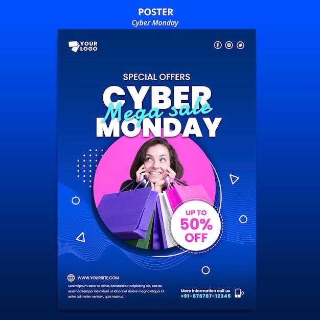 Cyber maandag poster sjabloon met foto Gratis Psd