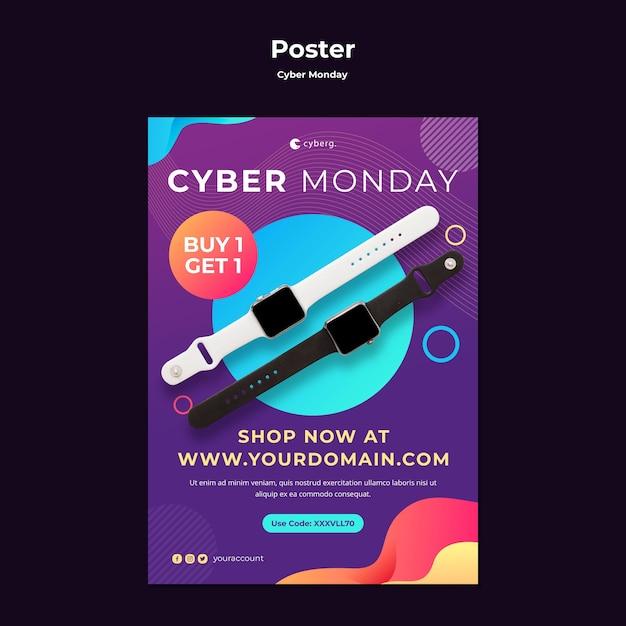 Cyber maandag poster sjabloon Gratis Psd