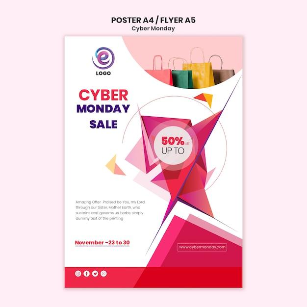Cyber maandag realistische poster sjabloon Gratis Psd